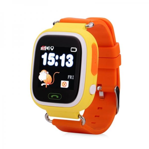 Ceas inteligent pentru copii GW100 Portocaliu cu telefon, localizare GPS&WiFi si functie monitorizare spion
