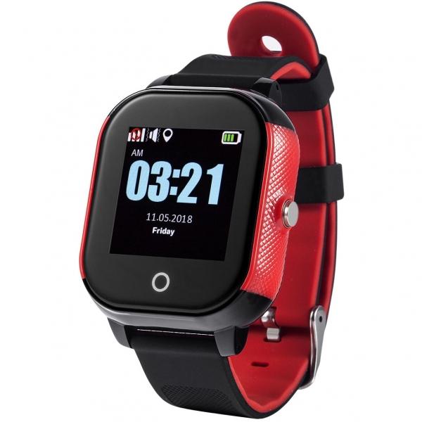 Ceas Inteligent cu GPS pentru copii WONLEX GW700S Negru cu Rosu, rezistent la apa, localizare WiFI si monitorizare spion 0